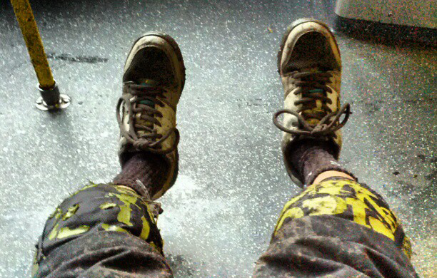 Trying not to get the bus dirty #myfirsttevashoes